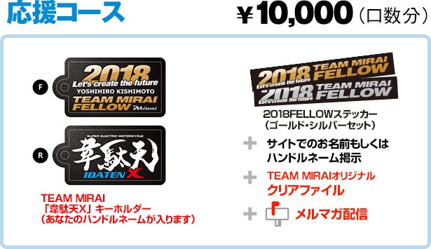 応援コース ¥10,000 2018FELLOWステッカー+TEAM MIRAI「韋駄天X」キーホルダー+TEAM MIRAIオリジナルクリアファイル+サイトでお名前掲示+メルマガ配信